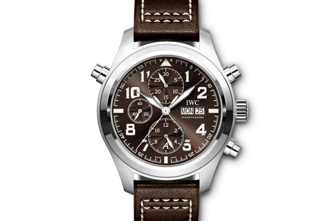 "IWC Pilot's Watch Double Chronograph ""Antoine de Saint Exupery"" Edition - Stainless Steel on Brown Leather - Brown Dial"