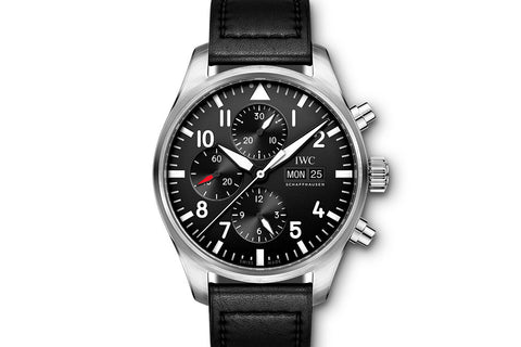IWC Pilot's Watch Chronograph - Stainless Steel on Black Leather - Black Dial