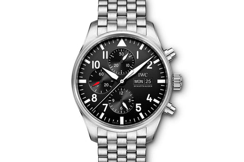 IWC Pilot's Watch Chronograph - Stainless Steel on Bracelet - Black Dial