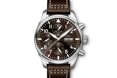 "IWC Pilot's Watch Chronograph ""Antoine de Saint Exupery"" Edition - Stainless Steel on Brown Leather - Brown Dial"
