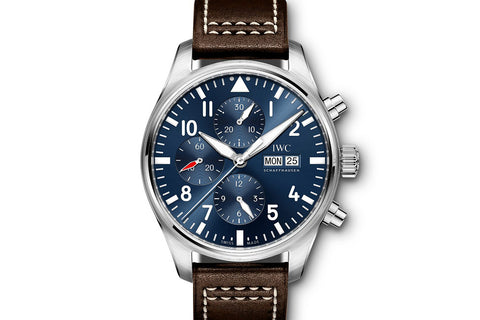 "IWC Pilot's Watch Chronograph ""Le Petit Prince"" Edition - Stainless Steel on Brown Leather - Blue Dial"