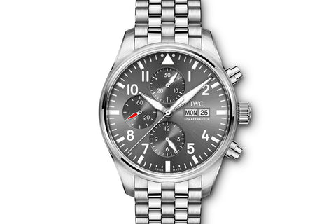 IWC Pilot's Watch Chronograph Spitfire - Stainless Steel on Bracelet - Grey Dial
