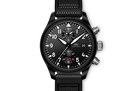 IWC Pilot's Watch Chronograph Top Gun - Ceramic on Black Leather - Black Dial
