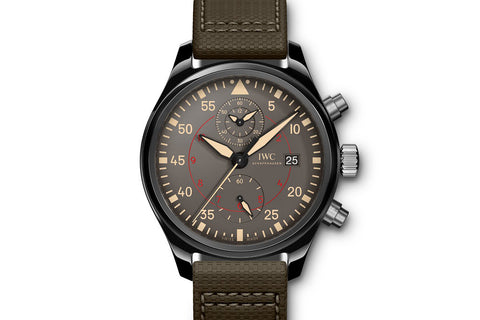 IWC Pilot's Watch Chronograph Top Gun Miramar - Ceramic on Green Leather - Grey Dial
