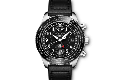 IWC Pilot's Watch Chronograph Timezoner - Stainless Steel on Black Leather - Black Dial