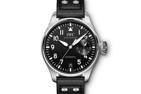 IWC Big Pilot's Watch - Stainless Steel on Black Leather - Black Dial