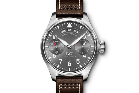 IWC Big Pilot's Watch Annual Calendar Spitfire - Stainless Steel on Brown Leather - Grey Dial