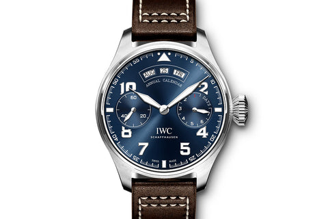 "IWC Big Pilot's Watch Annual Calendar ""Le Petit Prince"" Edition - Stainless Steel on Brown Leather - Blue Dial"