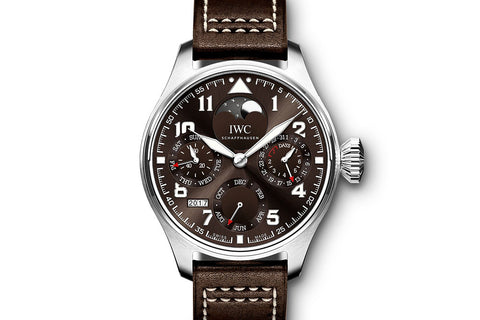 "IWC Pilot's Watch Perpetual Calendar ""Antoine de Saint Exupery"" Edition - Stainless Steel on Brown Leather - Brown Dial"