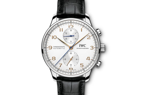 IWC Portugieser Chronograph - Stainless Steel on Black Leather - Silver Dial