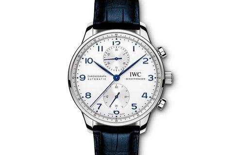 IWC Portugieser Chronograph - Stainless Steel on Blue Leather - Silver Dial