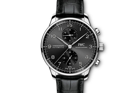 IWC Portugieser Chronograph - Stainless Steel on Black Leather - Black Dial