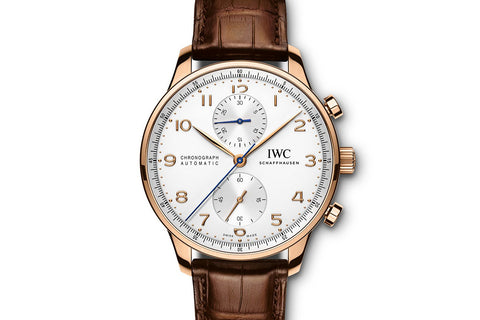 IWC Portugieser Chronograph - Rose Gold on Brown Leather - Silver Dial