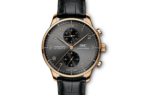 IWC Portugieser Chronograph - Rose Gold on Black Leather - Grey Dial