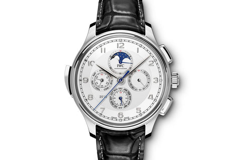 IWC Portugieser Grande Complication - Platinum on Black Leather - Silver Dial
