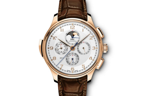 IWC Portugieser Grande Complication - Rose Gold on Brown Leather - Silver Dial