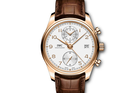 IWC Portugieser Chronograph Classic - Rose Gold on Brown Leather - Silver Dial