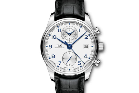 IWC Portugieser Chronograph Classic - Stainless Steel on Black Leather - Silver Dial