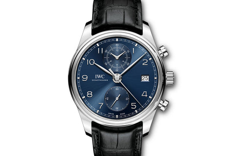 IWC Portugieser Chronograph Classic - Stainless Steel on Black Leather - Blue Dial