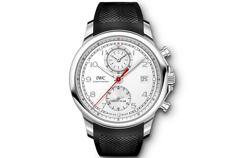 IWC Portugieser Yacht Club Chronograph - Stainless Steel on Black Rubber - Silver Dial