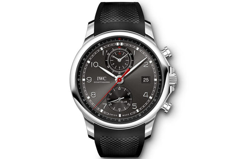IWC Portugieser Yacht Club Chronograph - Stainless Steel on Black Rubber - Grey Dial