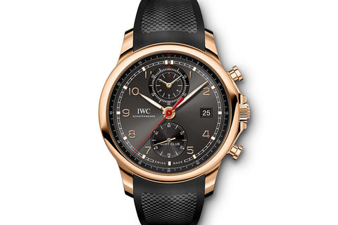 IWC Portugieser Yacht Club Chronograph - Rose Gold on Black Rubber - Grey Dial