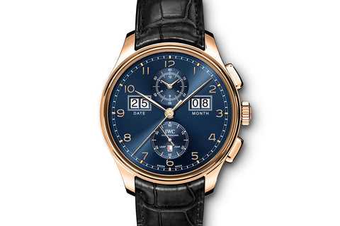 IWC Portugieser Perpetual Calendar Digital Date-Month - Rose Gold on Black Leather - Blue Dial