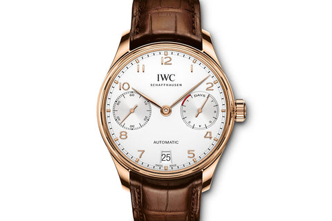 IWC Portugieser Automatic - Rose Gold on Brown Leather - Silver Dial