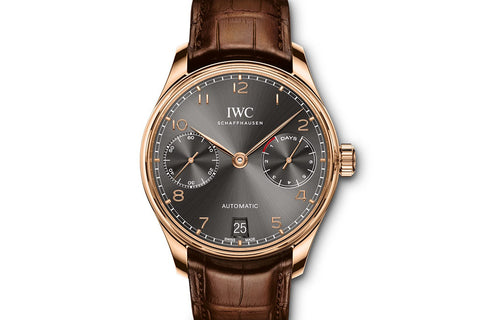 IWC Portugieser Automatic - Rose Gold on Brown Leather - Grey Dial