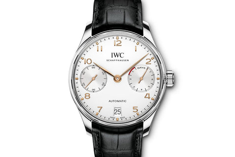 IWC Portugieser Automatic - Stainless Steel on Black Leather - Silver Dial w/ Gold Markers