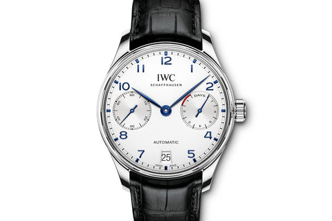 IWC Portugieser Automatic - Stainless Steel on Black Leather - Silver Dial w/ Blue Markers