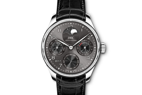 IWC Portugieser Perpetual Calendar - White Gold on Black Leather - Grey Dial