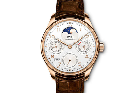 IWC Portugieser Perpetual Calendar - Rose Gold on Brown Leather - Grey Dial
