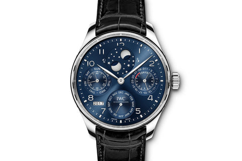 IWC Portugieser Perpetual Calendar - White Gold on Black Leather - Blue Dial
