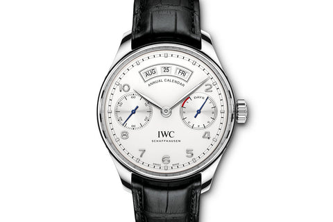 IWC Portugieser Annual Calendar - Stainless Steel on Black Leather - Silver Dial
