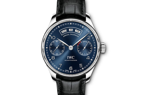 IWC Portugieser Annual Calendar - Stainless Steel on Black Leather - Blue Dial