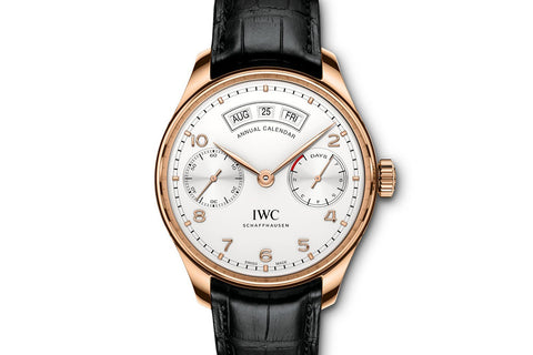 IWC Portugieser Annual Calendar - Rose Gold on Black Leather - Silver Dial