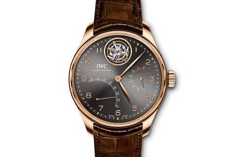 IWC Portugieser Tourbillon Mystère Rétrograde - Rose Gold on Brown Leather - Grey Dial