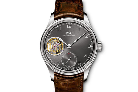 IWC Portugieser Tourbillon Hand-Wound - White Gold on Brown Leather - Grey Dial