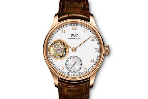 IWC Portugieser Tourbillon Hand-Wound - Rose Gold on Brown Leather - Silver Dial