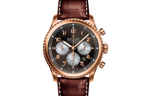 Breitling Navitimer 1 Automatic 38 - 18k Rose Gold on Brown Crocodile - Bronze Dial