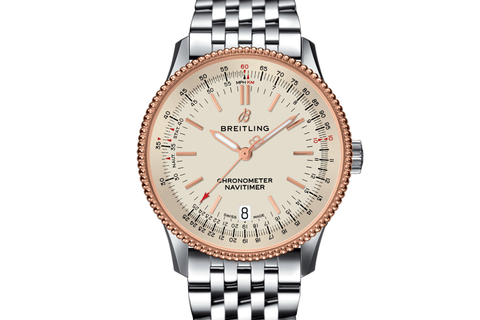 Breitling Navitimer 1 Automatic 38 - Stainless Steel & 18k Rose Gold on Bracelet - Silver Dial