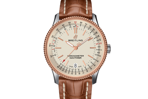 Breitling Navitimer 1 Automatic 38 - Stainless Steel & 18k Rose Gold on Gold Crocodile - Silver Dial