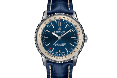 Breitling Navitimer 1 Automatic 38 - Stainless Steel on Blue Crocodile - Blue Dial