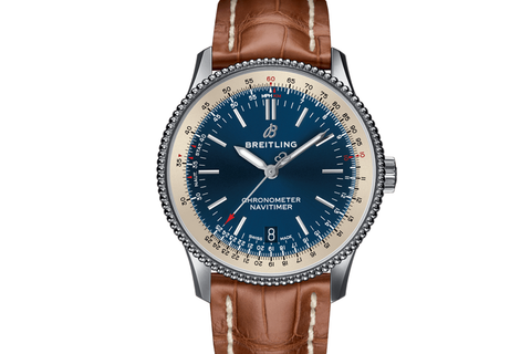 Breitling Navitimer 1 Automatic 38 - Stainless Steel on Gold Crocodile - Blue Dial