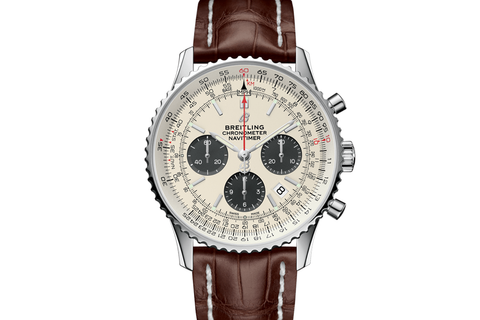 Breitling Navitimer 1 B01 Chronograph 43 - Stainless Steel on Brown Leather - Cream Dial
