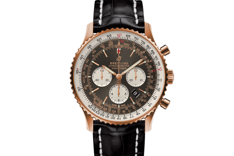 Breitling Navitimer 1 B01 Chronograph 46 - 18k Rose Gold on Black Leather - Anthracite Dial