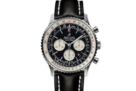 Breitling Navitimer 1 B01 Chronograph 46 - Stainless Steel on Black Leather - Black Dial
