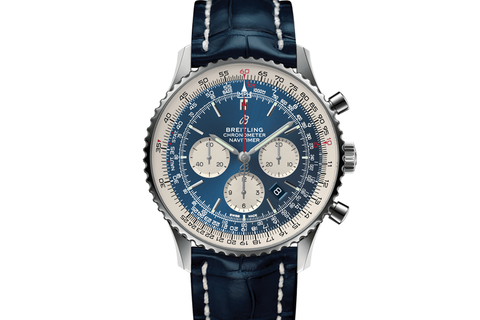 Breitling Navitimer 1 B01 Chronograph 46 - Stainless Steel on Blue Crocodile - Blue Dial