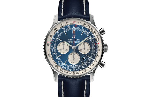 Breitling Navitimer 1 B01 Chronograph 46 - Stainless Steel on Blue Leather - Blue Dial
